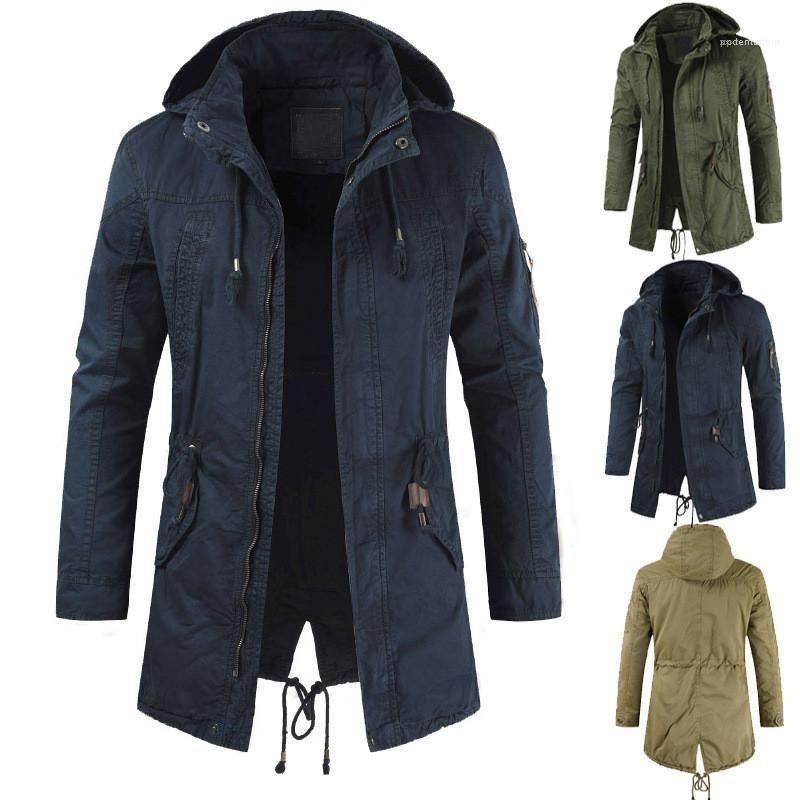 Одежда мужские куртки с молнией осенью и зимой Длинные капюшоном Тонкий Верхняя одежда с длинным рукавом хлопок Mens