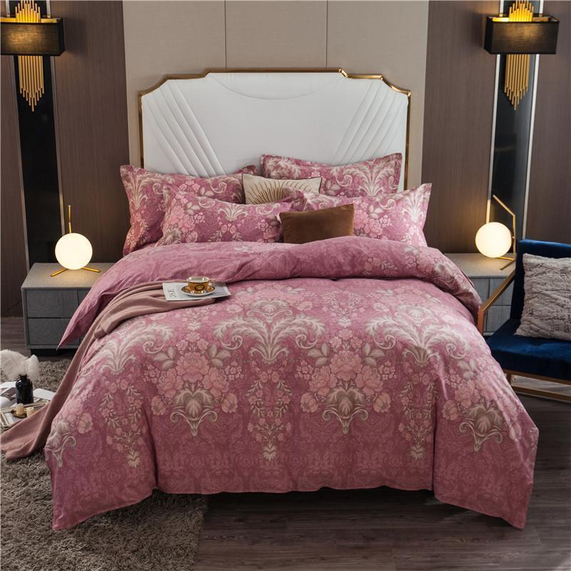 Escovado cama de algodão set Heavyweigh grosso de capa de edredon quente com Zipper Laços Impresso Folha de cama set Fronhas gêmeo Rainha Rei