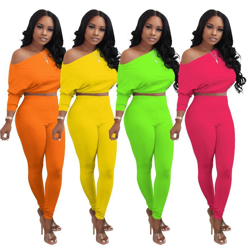 Two Piece Tracksuit Sweat Suits Women Set Women's Solid Color Long Sleeve Crop Top And Casual Pants Suit Matching Set Outfits