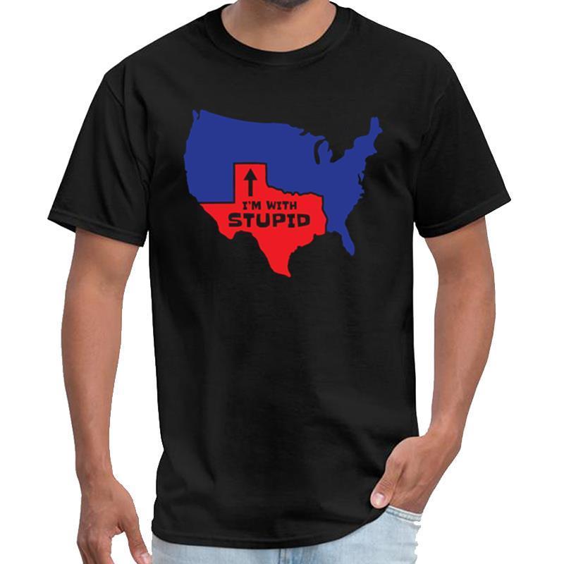 Impresso Texas Design Eu sou com estúpido Mapa legal da camisa mulheres ideia do presente satã tshirt anime camiseta tamanho grande s slogan ~ 5xL