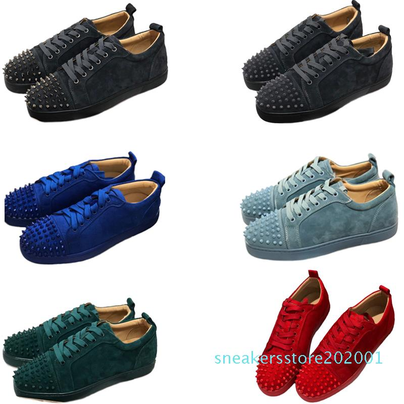 iLuxury Designer-Turnschuhe verzierte Spitzen-Männer Trainer-rote untere Schuhe 100% echtes Leder Qualitäts-Art- und Freizeitschuhe US 5-12,5 s01