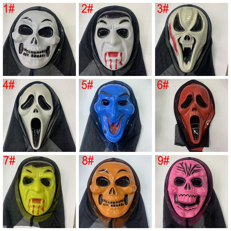 Halloween Crânio rachadura máscara de Halloween Skeleton Horror máscara do partido Masquerade Máscaras coloridas Máscaras Adulto Inteiro Partido cara retro BH3974 TQQ