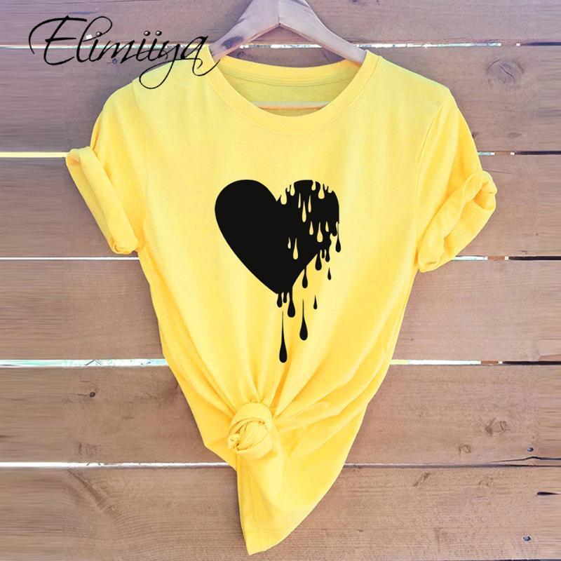 T-shirt Femme Elimiyya Femmes T-shirts Casual Harajuku Love Tops T-shirt T-shirt Femelle T-shirt À Manches courtes pour vêtements