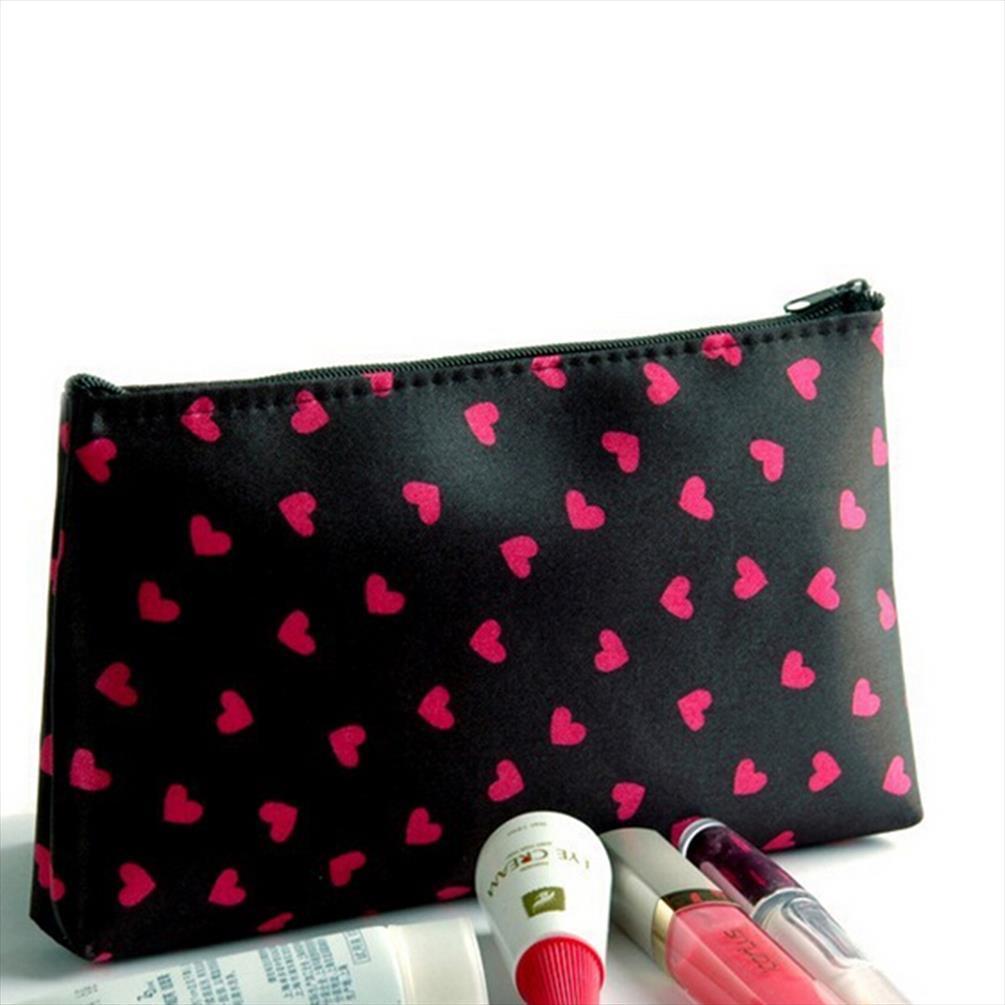 Bolsas cosméticas Caso Coração Impresso Poliéster Cosmetic Bag 18 * 10 * 2,5 centímetros longo menina Caso Feminino Zipper Bag Lápis