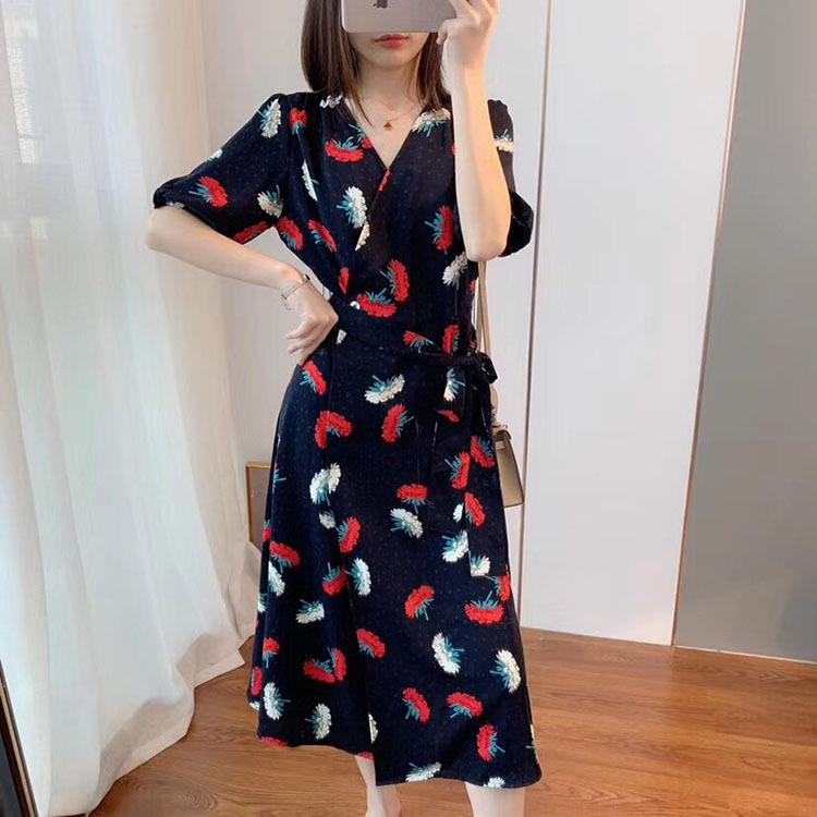 vestido YXGAx de visitantes patrón V-cuello elegante oscuro minoría étnica francesa impreso rotura de té de alta gama verano de las mujeres de vestir Grupo