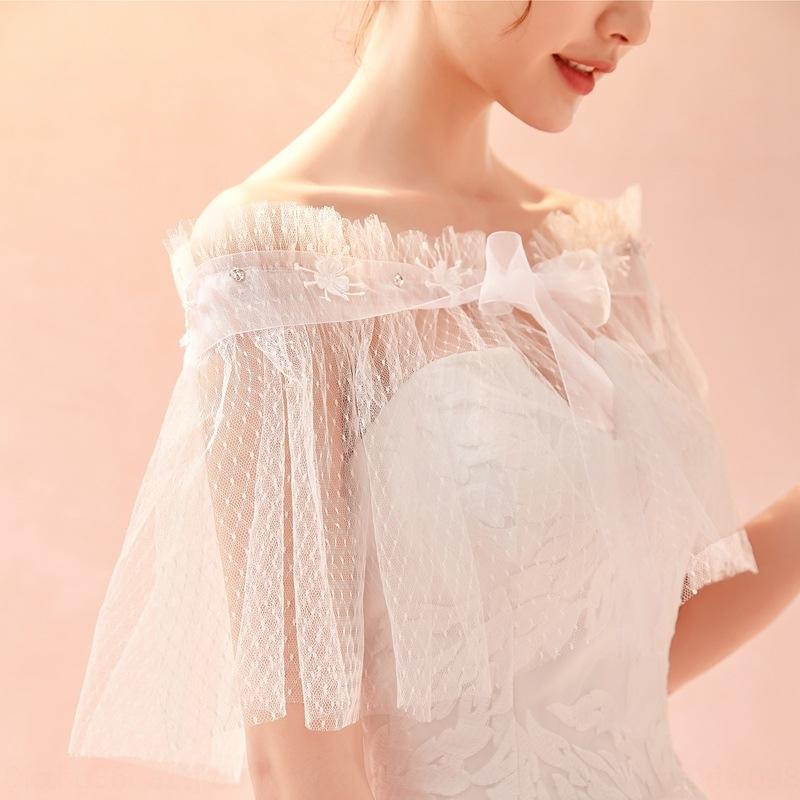 Bride lace tulle shawl shoulder accessories lace-up umbrella arm spring Lace wedding dress wedding dress and summer New