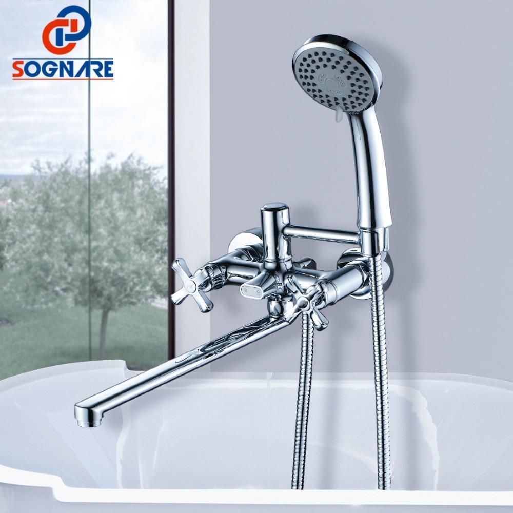 Baño de latón Conjunto 35cm grifos grifo de la ducha ducha de mano del sistema D6115 Baño Sognare nariz larga mezclador montado en la pared de la ducha con bañera mRPxl E2008