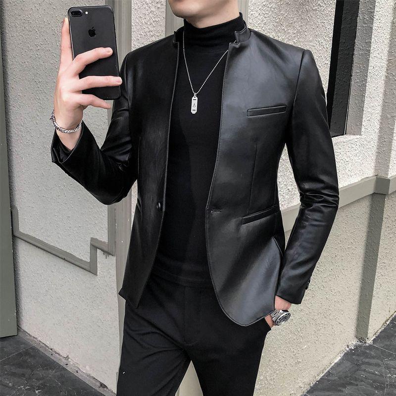 가짜 가죽 남성 재킷 캐주얼 슬림핏 재킷 Masculino PU 정장 재킷 하나의 버튼 웨딩 비즈니스 드레스 코트 로파 험 브레