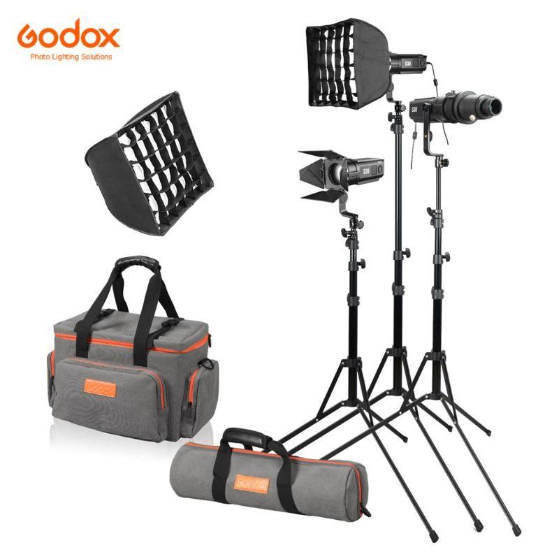 Godox S30-D 90W Regulável Focando selfie Refletor LED 5600K CRI 96 + Luz LED com acessórios Kit luz significa Power Adapter