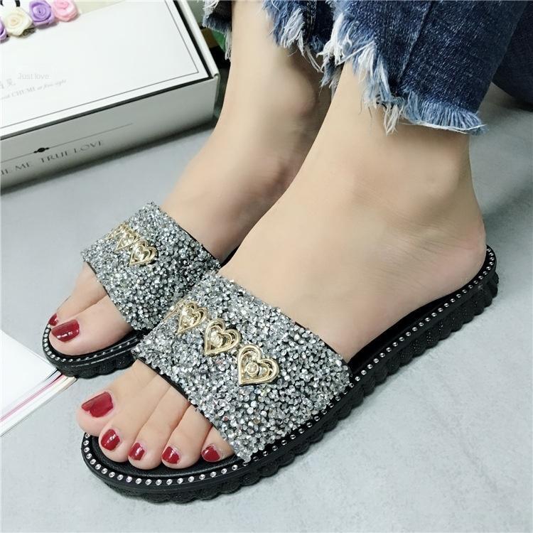 Damenschuhe blitzen Diamant außerhalb der koreanischen Art bequeme flache und Sandalen Slippers Sandalen rutschfest