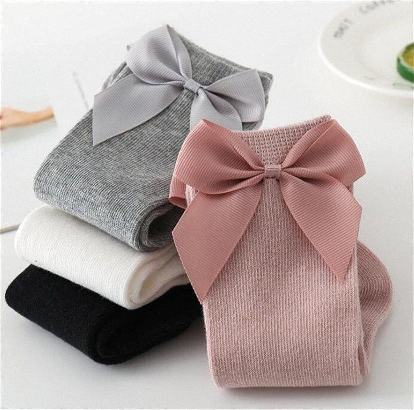 2020 Kids Toddler Cotton Socks Big Bow Mid Level Long Stockings Boys Girls Infants Newborn Child Floor Shoes Solid Sock Slipper LY728 Nxxp#