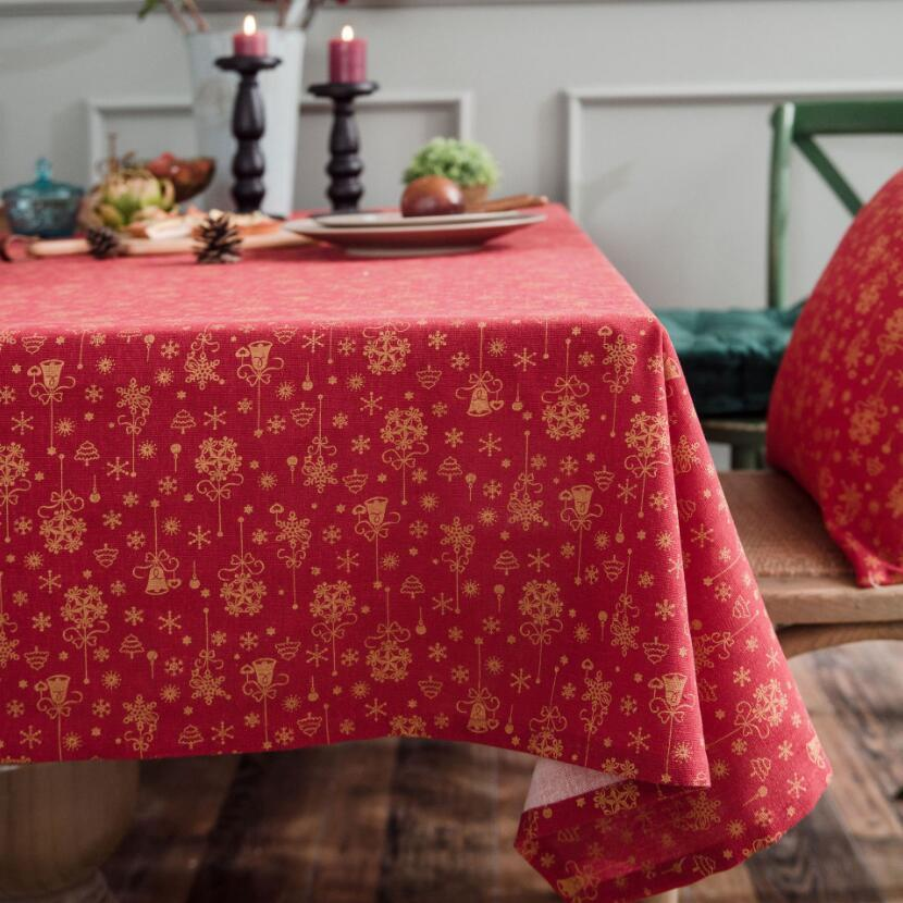 Tovaglia Bianco Verde Rosso di Natale del fiocco di neve Albero stampato nuovo anno della decorazione della casa tovaglia di lino cotone Mantel Mesa ZC076 Y200421
