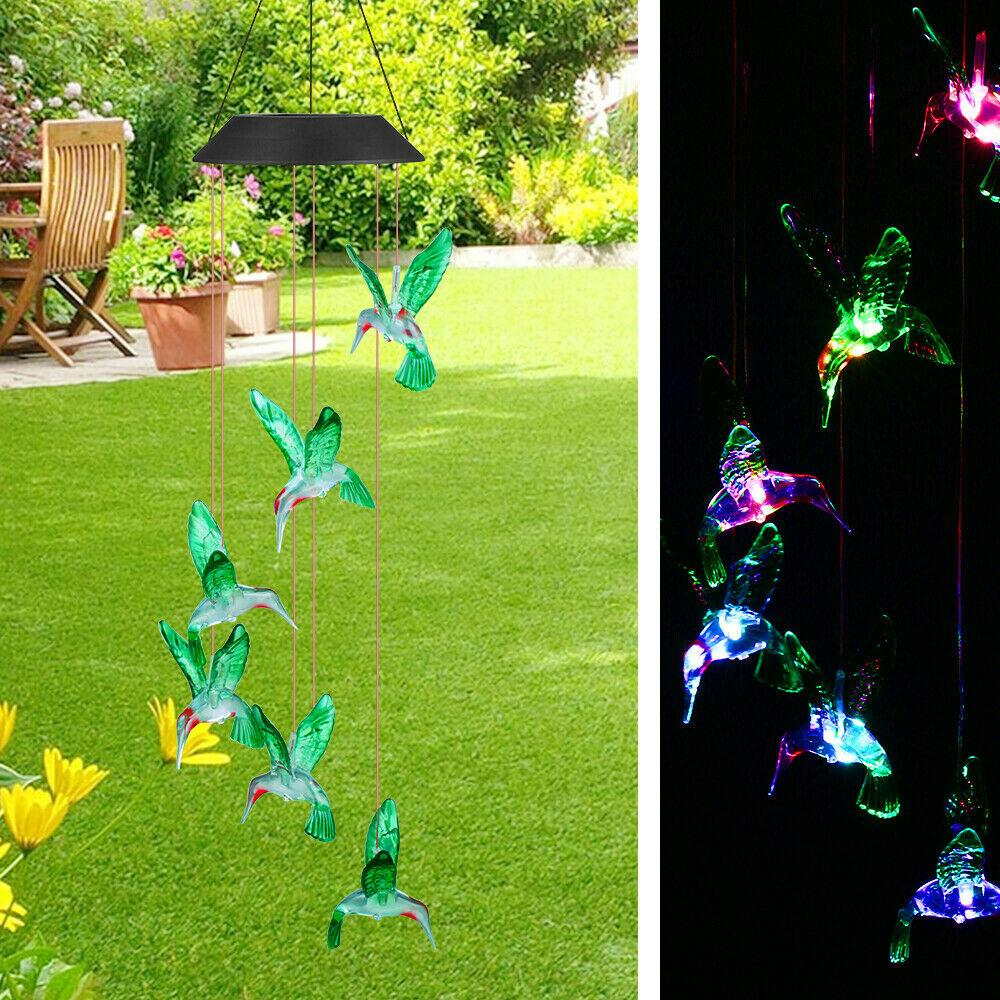 Güneş LED Hummingbird Rüzgar Çanları Ev Bahçe Dekor Işık Lambası ABD Renk değiştirme