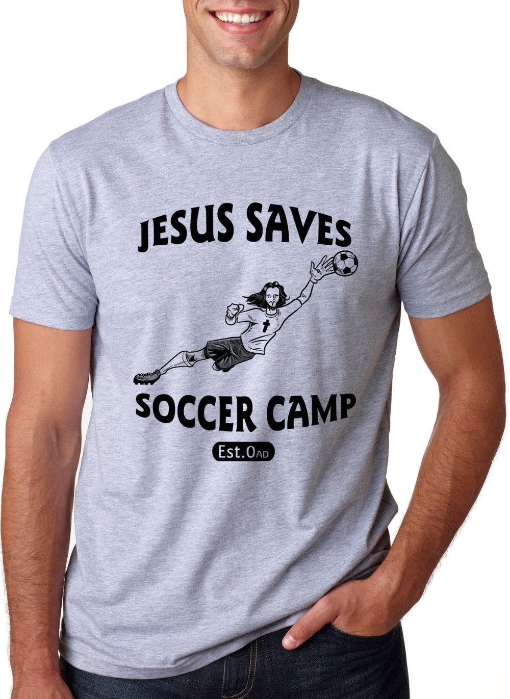 2020 Mode Hot Jesus Saves Soccers T-shirt drôle Goalies Religion Sporter T Tee shirt