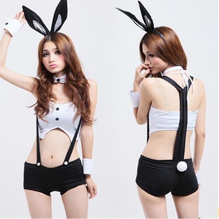 Atractiva 4163 de la ropa interior de la correa de conejo rendimiento uniforme niña de conejo uniforme de la correa de la correa de la ropa interior atractiva tentación PkLOQ