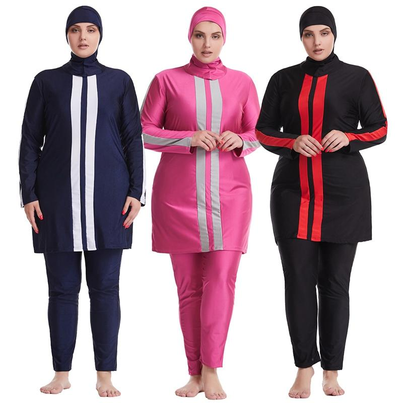 Muslim Bademode Hijab Muslimah islamischen Badeanzug Full Cover Patchwork Burkini Weinlese-Plus Size