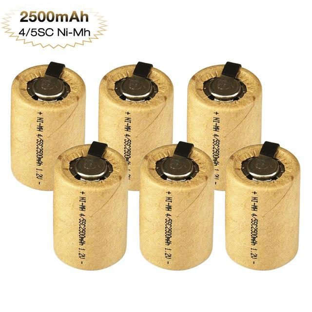 Tüketici Elektronik 8-15pcs NiMh 4 Elektrikli Matkap Oyuncak Kaynak Tabs ile / 5SC 2500mAh 1.2V şarj edilebilir batarya SC Alt C Ni-MH Hücre