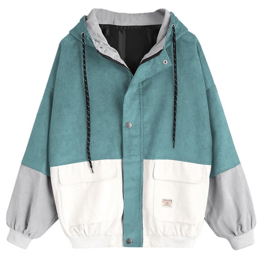 Белла Философия цвета блок с длинным рукавом вельвет Женщины куртка Лоскутная Осень кнопка женщины куртка плюс размер женщин женское пальто CX200815