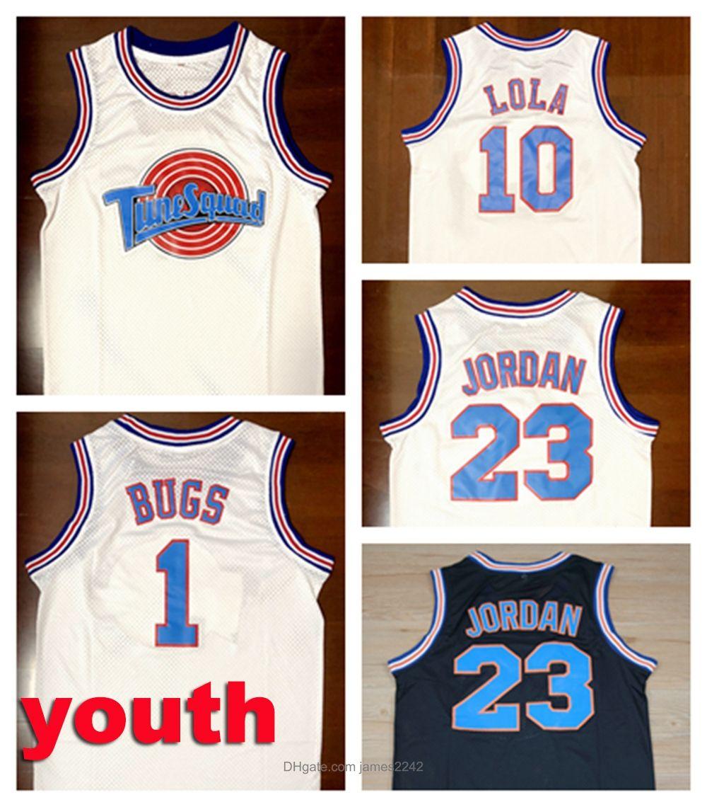 Jeunes enfants Top Movie Space Jong Tune Squad Jersey 23 Michael 1 Bugs Bunny 10 Jerseys de basketball Lola Black White Taille S-XL