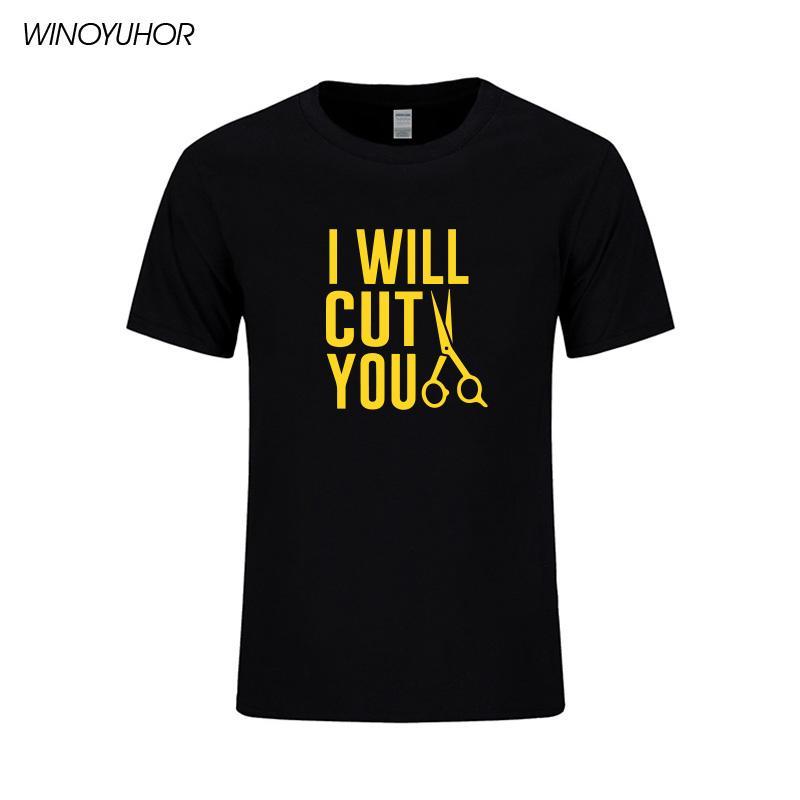 Je couperai Vous Coiffeur Barber T-shirt de coton pour hommes Lettre drôle d'impression Tops été à manches courtes T-shirt Streetwear