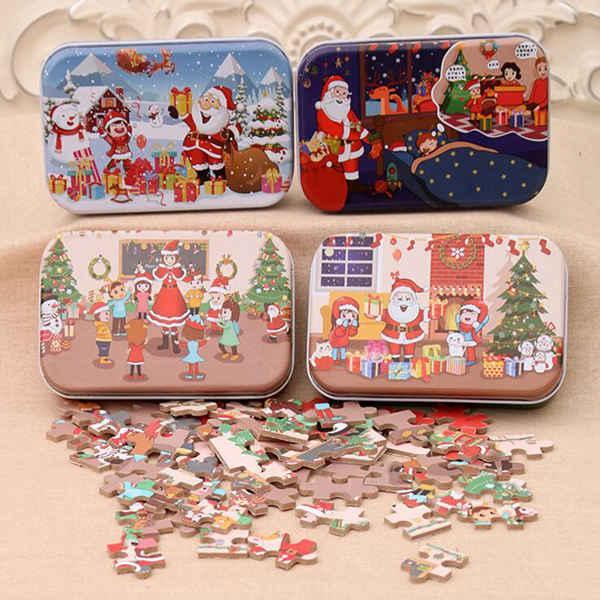 regalo de DIY navidad niños caja de hierro de Santa Claus regalo de madera jardín de niños rompecabezas de madera de doble cara