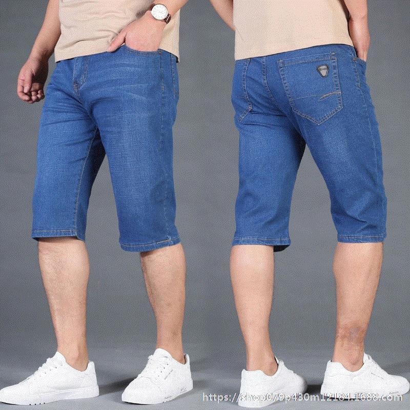 Fat Medium Hose plus Größe lose abgeschnitten Shorts Denim gerade Sommerhose und Hose dünne helle Farbe Männer strecken Ou0Gj