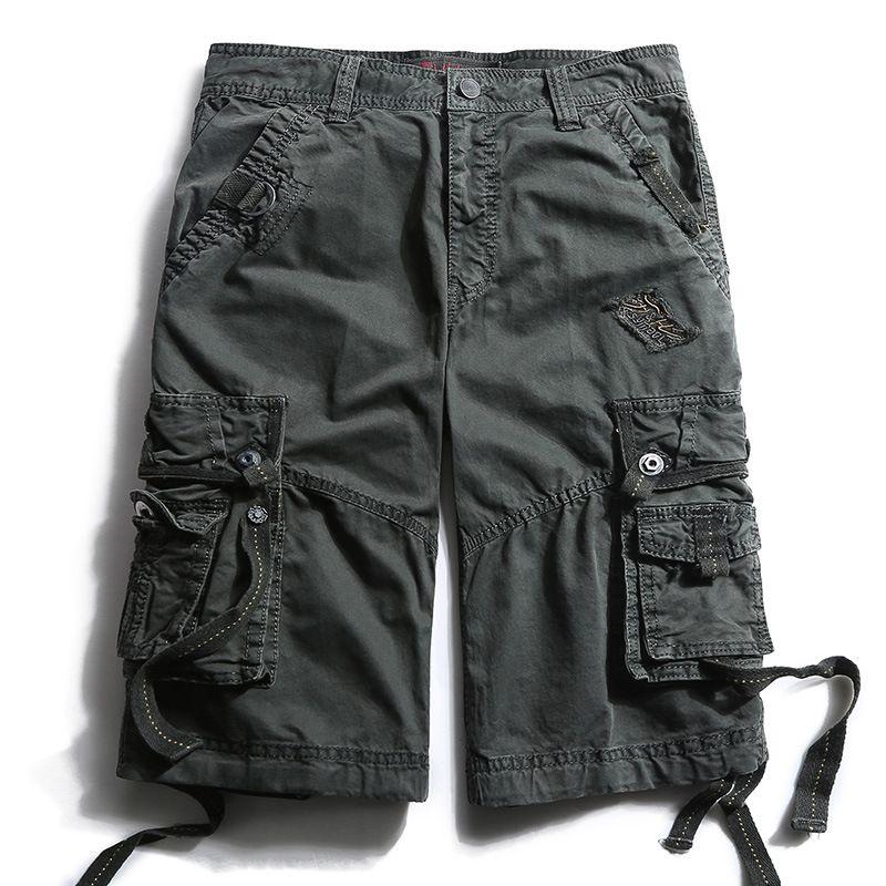 Vente chaude de grande taille de style occidental Workwear Shorts Pantalon multi-poches Pocket hommes Moyen Pantalons Shorts-40