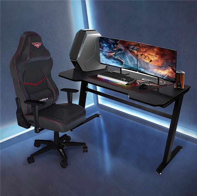 """Игровой рабочий стол 47.2 """"W x 23.6"""" Doffice Компьютерная таблица, Черная Геймер Рабочая станция с 2 отверстиями для управления кабелем W20615682"""