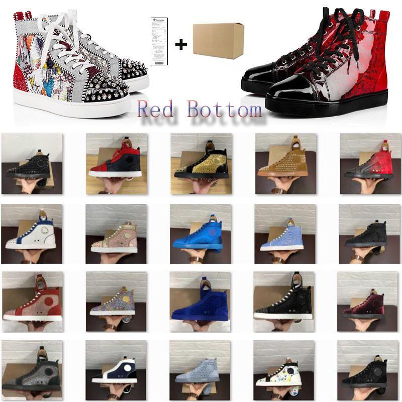 Meilleur Chaussures Casual Red Bottom luxe en cuir cloutés Spikes Parti Or Rouge Verni Noir Blanc Couple Amoureux Party Chaussures avec la boîte Taille 34-48