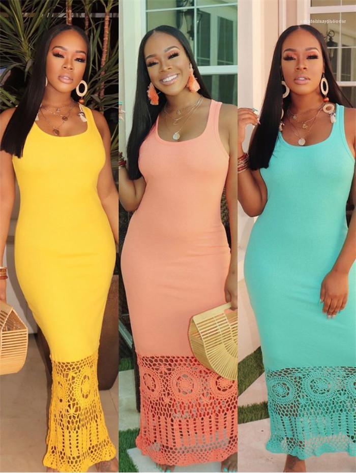 Dişiler Seksi Patchwork Giyim Kadın Hook Çiçek Hollow Out Yelek Elbise Yaz Tasarımcı Kolsuz Katı Renk Bir Adım Elbiseler