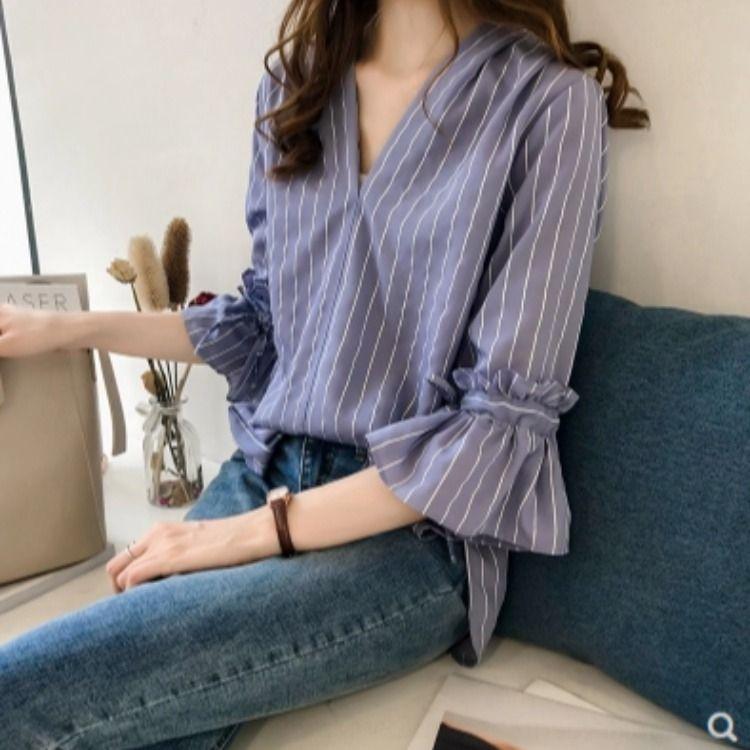 elegante campana manga estudiante tapa floja 2020 camisa del estilo del verano nuevo coreano superior del todo-fósforo TmSYo rayada de las mujeres que basa la camisa
