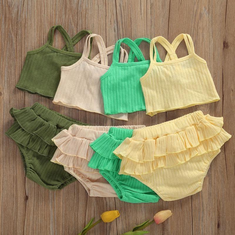2adet Moda Yaz Bebek Kolsuz + fırfır Şort Kız bebekler kıyafetler zjkz # Tops Katı Casual Pamuk Keten Yürüyor Bebek Suit Elbiseler