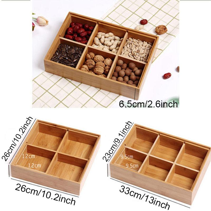 Натурального бамбук орех сушеных фруктов Box Bulk хранение продуктов Деревянная Решетчатые конфеты Тарелка Tray Sealed Многофункциональной Партия Закуска Candy Box ZX BH2289