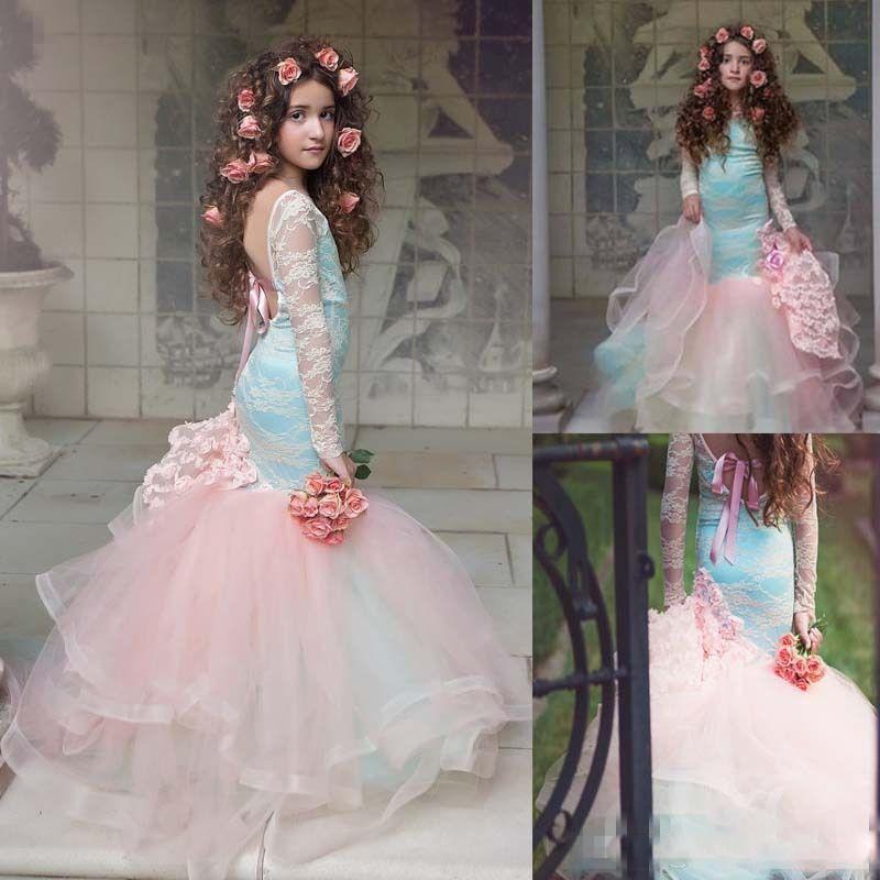 Lindo azul e rosa Meninas Pageant Vestidos 2017 Lace longo mangas Backless sereia Vestidos de Menina Flor para casamento Crianças vestidos de festa