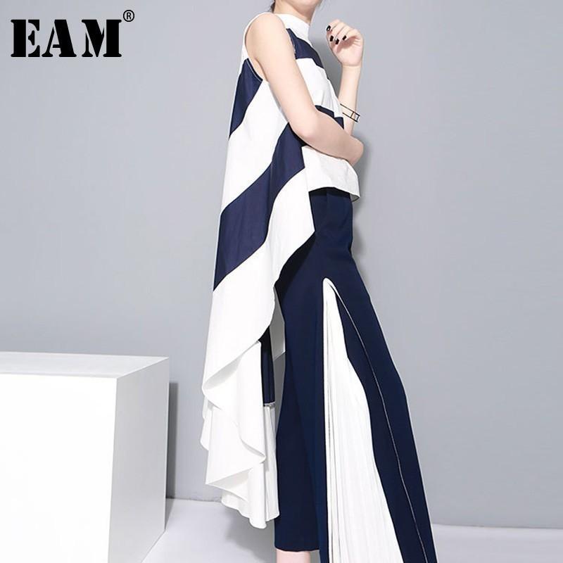 [EAM] 2020 Новая весна Стенд Воротник Sleeveles Синий Полосатый Большой Хем Нерегулярное Свободные рубашки Женщины блузка Мода Tide LJ200815