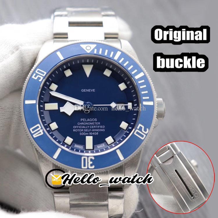 Luxury New 41мм 25600TB 25600 синий циферблат Автоматическая Мужские часы синий ободок Оригинальный Bucklet Браслет из нержавеющей стали мужские часы Hello_watch