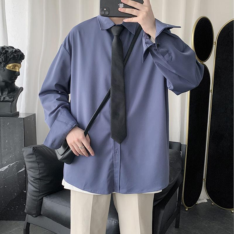 2020 color sólido de los hombres de azul de manga larga camisa hawaiana Camisa Masculina algodón para hombre ropa de moda francesa Cuff camisas M-5XL