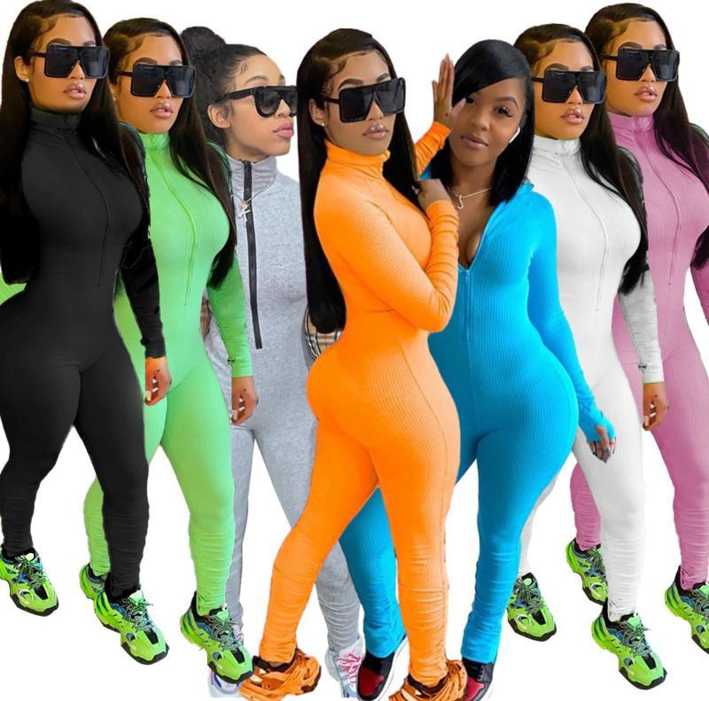 Solid Color Sexy Women Bodycon Jumpsuit Romper Long Sleeve Bodysuit Women Zipper Turtleneck Jumpsuits Elegant Full Length DHL