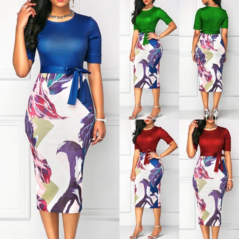 DTzEu 2019 sıcak satan yuvarlak boyun basılı bant yamalı kısa kollu 2019 sıcak satan yuvarlak boyun basılı bant yamalı elbise kısa kollu