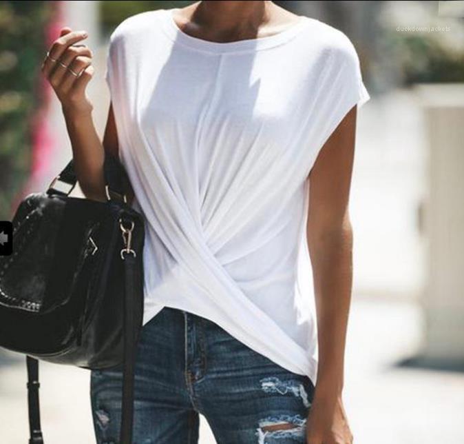 Casual Slim T-shirts femmes vêtements féminins Designer Croix-Tie T-shirts d'été Femmes Solid Designer Mode couleur