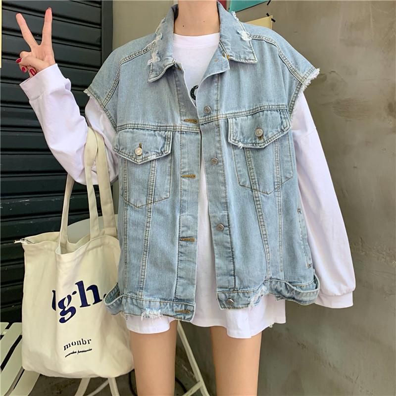 Frauen Retro Denim Westen 2020 Light Blue Denim Fashion Outers Weste Mäntel Weiblich Mädchen Trendy Swag koreanische Art Denims Weste Herbst