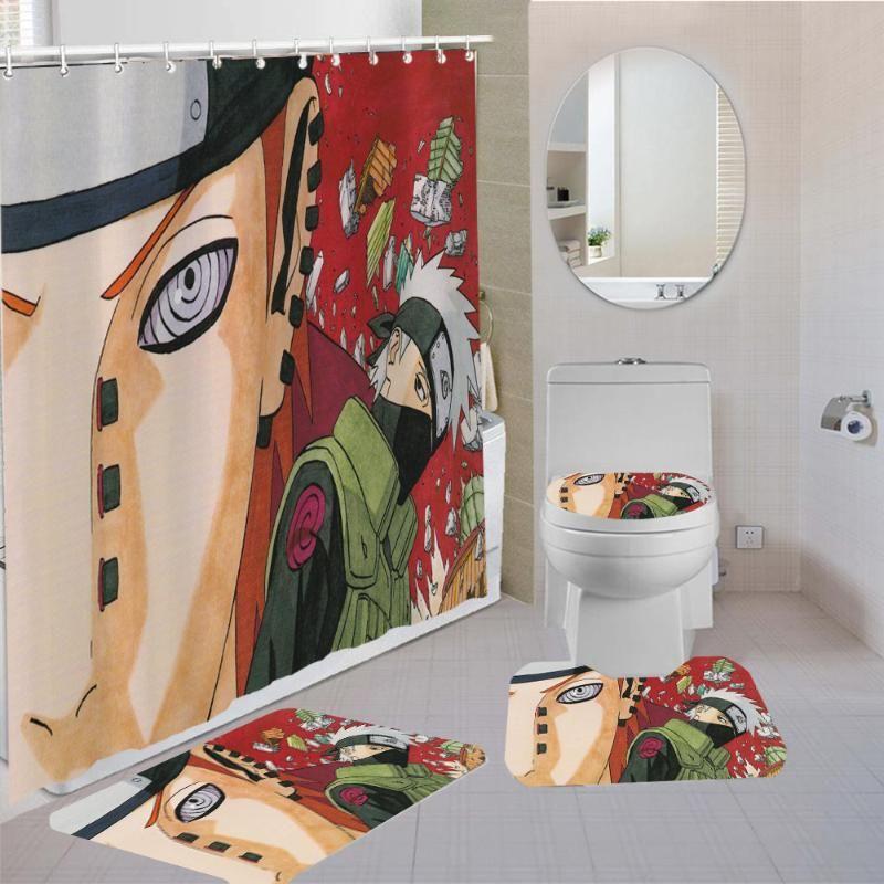 Impermeável cortina de chuveiro Banho Mat Set Pedestal Rug tampa do vaso tampa Washroom Rug Set cortina de chuveiro