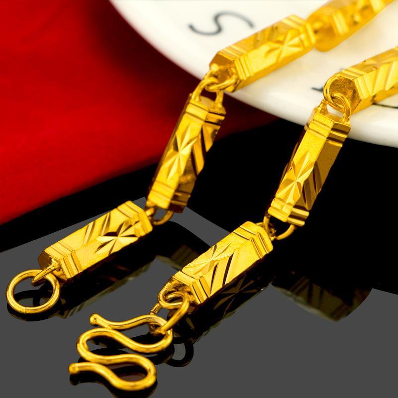 Горячие продавать вьетнамец золото пламенного Обработанного золота Mens Твердой Pure шестиугольной Bamboo Ожерелье Vintage Boss цепь Позолоченные украшения оптом