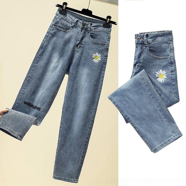 calças N0vDV yJvsD Daisy pequeno e jeans jeans tamanho grande rabanete Primavera e emagrecimento populares coreano estilo solto estudante cintura alta de outono 2