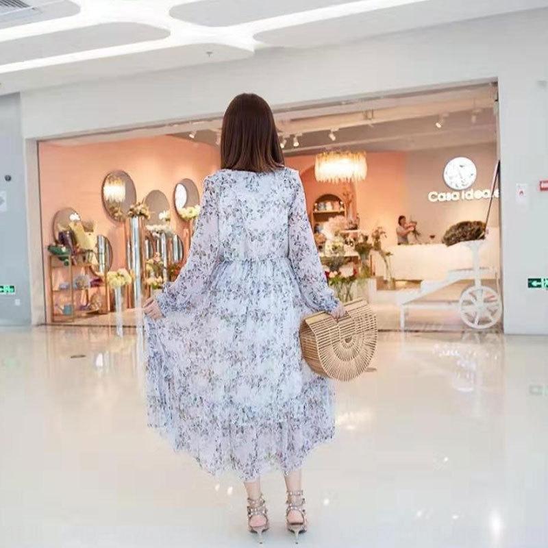 KPmjC primavera 2020 nova V-neck luva longa das mulheres vestido floral francês meados de comprimento vestido de chiffon