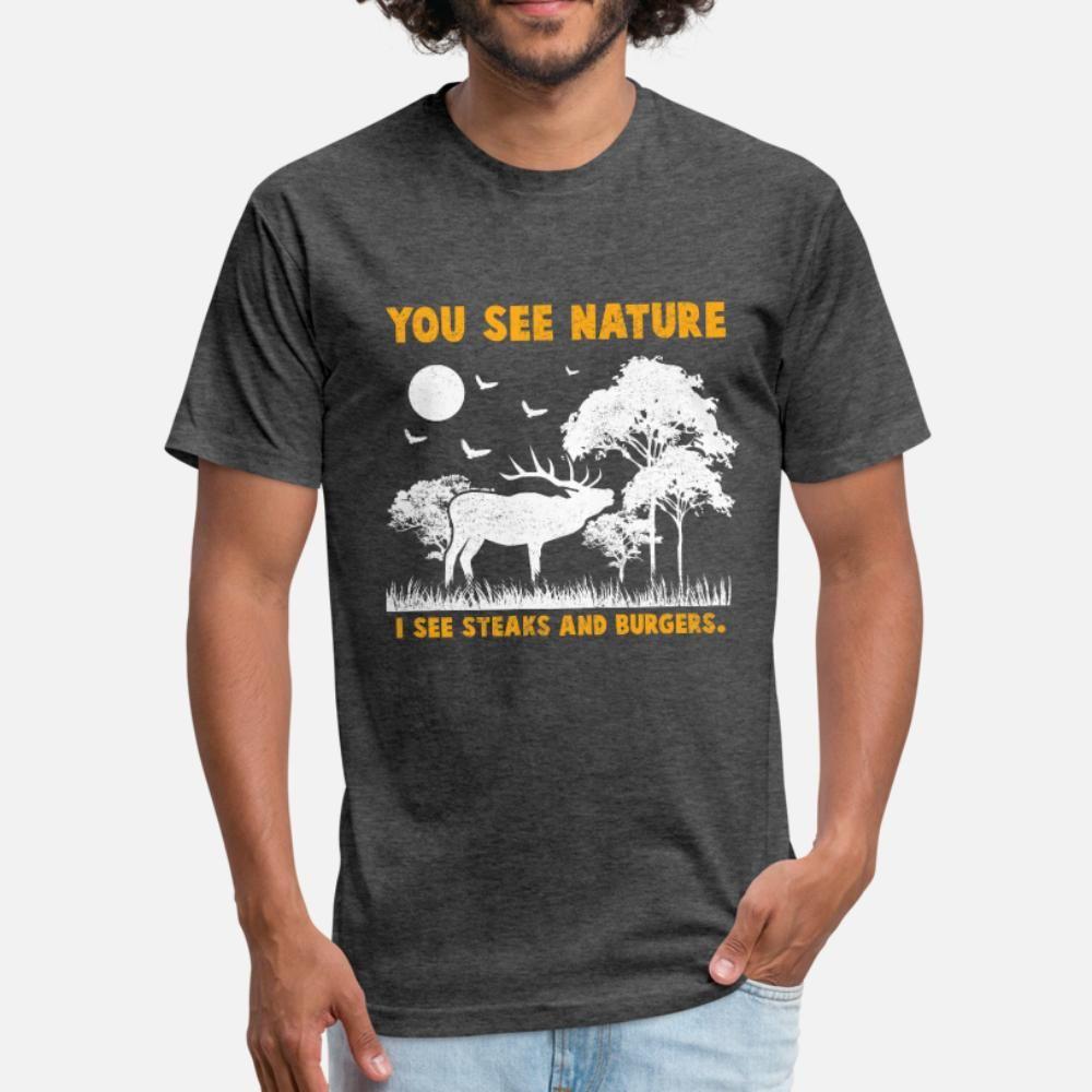 Deer Hunter Burger Колбаса Bbq Стейки тенниска мужчины Designs 100% хлопок вокруг шеи сплошной цвет Известный Комфортный летний Урожай рубашки
