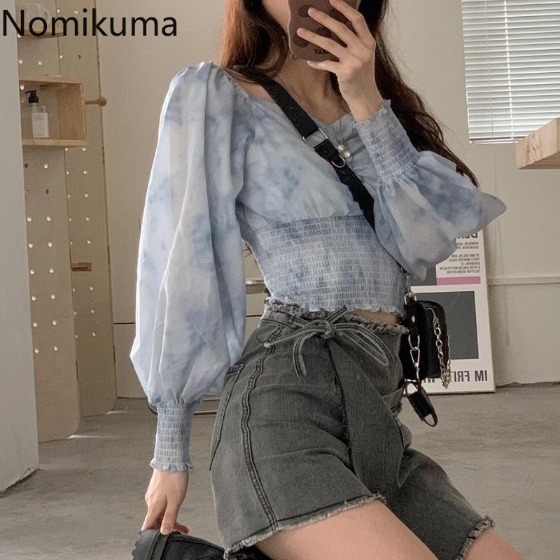 Nomikuma neue Ankunfts-dünne Taillen-Dye Tie Bedruckte Shirts mit V-Ausschnitt Langarm-Bluse Frauen Crop Tops Street Blusas Mujer 3c552