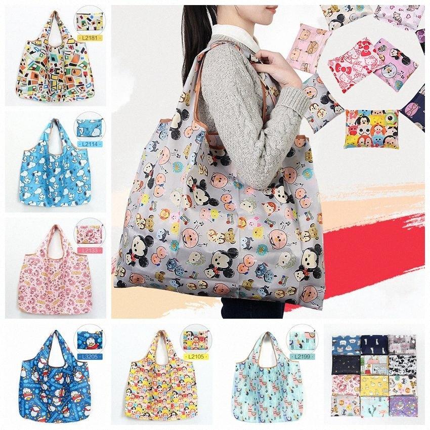 Nylon impermeável dobrável Sacos reutilizáveis saco de armazenamento compras amigável de Eco Bolsas de Grande Capacidade Cosmetic Bag RRA1739 DV8h #