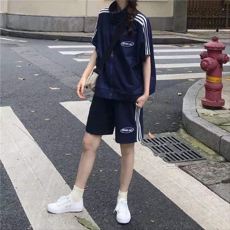 TwKnv 9MVwL носить большой костюм размера женщин короткий рукав стиль свободный студент моды Корейский шик случайный лето двухсекционный костюм мода