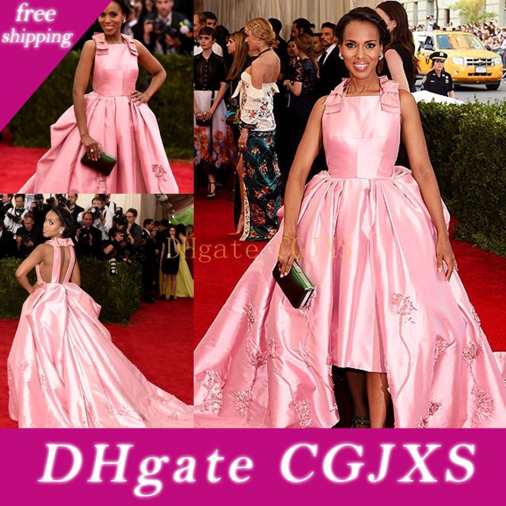 Hallo -Lo Rosa Abendkleider Sonder Ausschnitt mit Stickerei-Abend-Kleider mit Rüschen Sweep Zug nach Maß Neue Ankunfts-Diskont-elegantes Party-Kleid